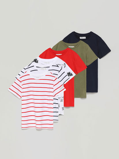 Pack of 6 basic printed short sleeve T-shirts
