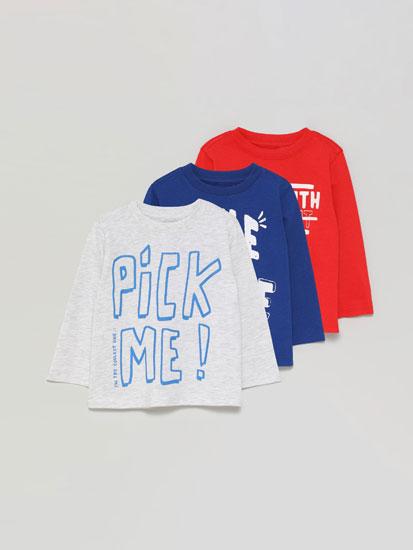 Paquet de 3 samarretes estampades de màniga llarga