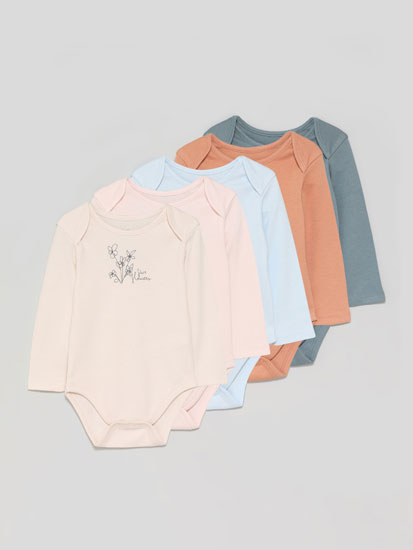 Pack of 5 basic long sleeve bodysuits