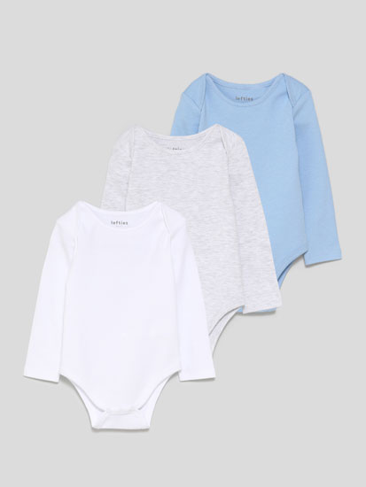 Pack of 3 basic long sleeve bodysuits