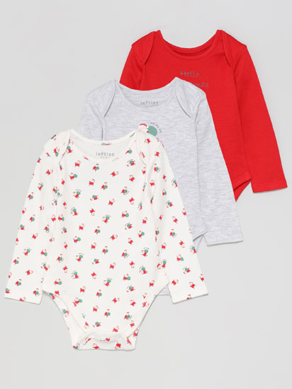 Pack of 3 Christmas long sleeve bodysuits