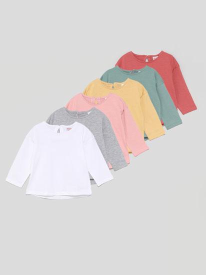 Pack de 6 t-shirts básicas de manga comprida