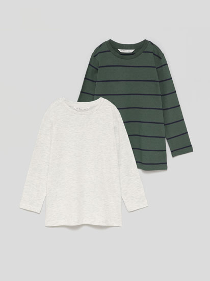 Pack of 2 basic plain and striped long sleeve T-shirts