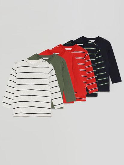 Paquet de 6 samarretes bàsiques llisa i estampada de ratlles de màniga llarga