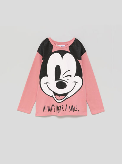 T-shirt Mickey ®Disney com estampado brilhante