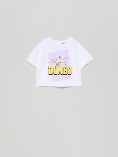 Cropped Dumbo ®Disney T-shirt with a shiny print