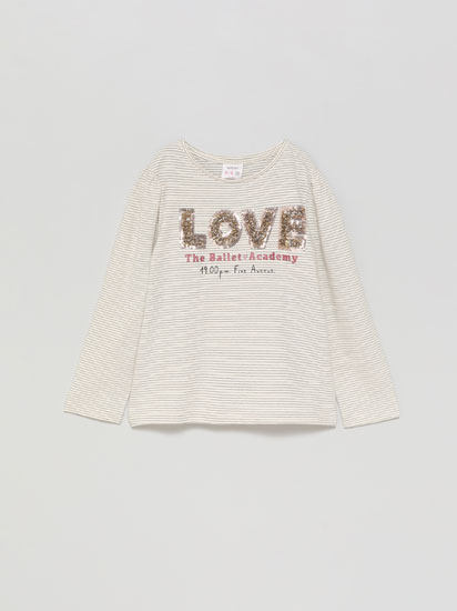 Printed T-shirt with tulle detail