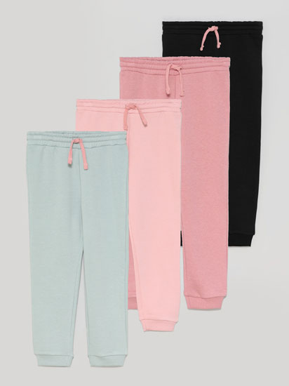 Pack of 4 pairs of basic tracksuits bottoms