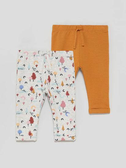 Pack of 2 plain and printed basic plush trousers