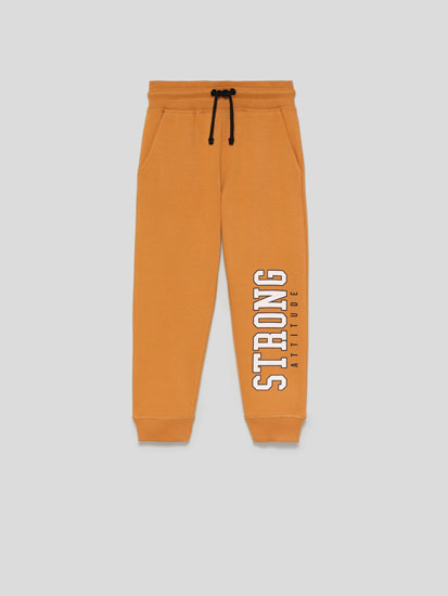 Basic Plush Trousers with Slogan