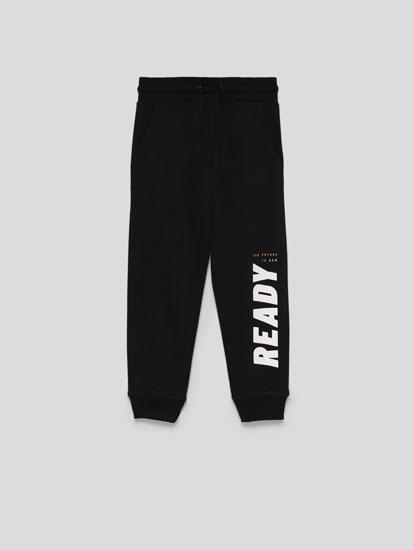 Basic Plush Trousers with Slogan