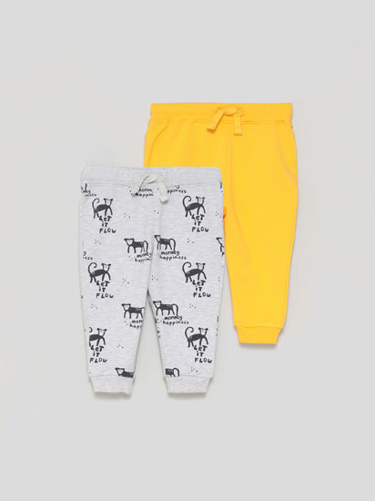 Pack of 2 plain and printed basic tracksuit bottoms