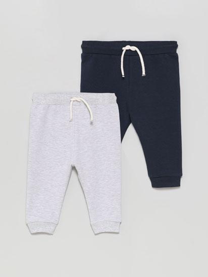 Paquet de 2 pantalons de xandall bàsics en llis i estampat