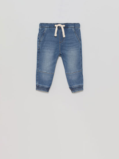 Cotton trousers with denim effect
