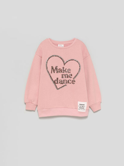 Sweatshirt with raised appliqués
