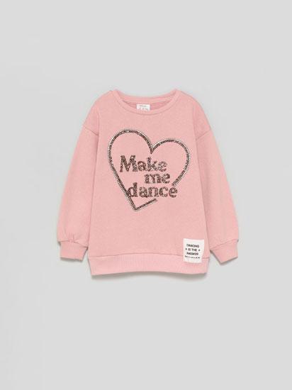 Sweatshirt with raised appliqués