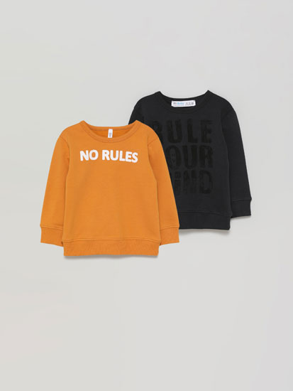 Pack of 2 basic printed sweatshirts