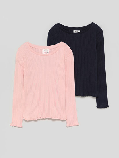 Pack of 2 basic ribbed long sleeve T-shirts