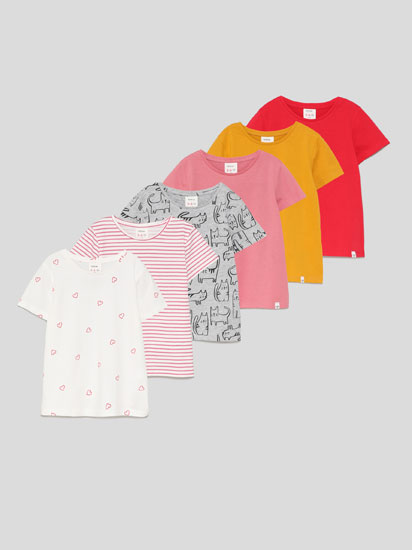 6-Pack of basic plain and printed short sleeve T-shirts