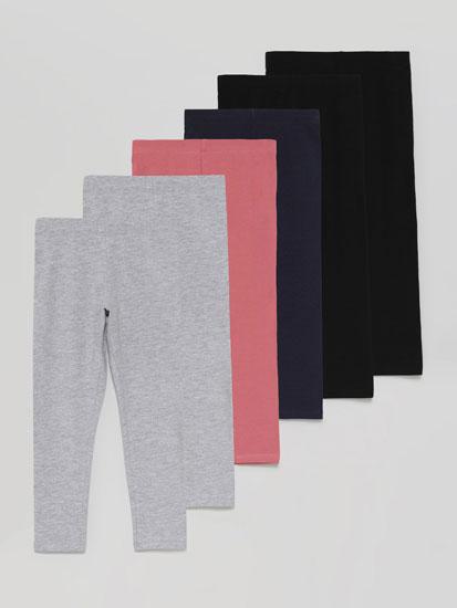 Pack de 6 leggings compridas básicas