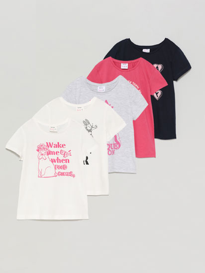 Pack of 5 printed short sleeve T-shirts