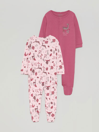 Pack of 2 sleepsuits with a forest print