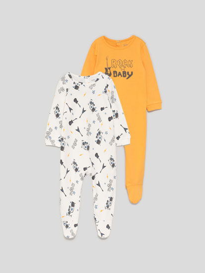 Pack of 2 sleepsuits with a rock print