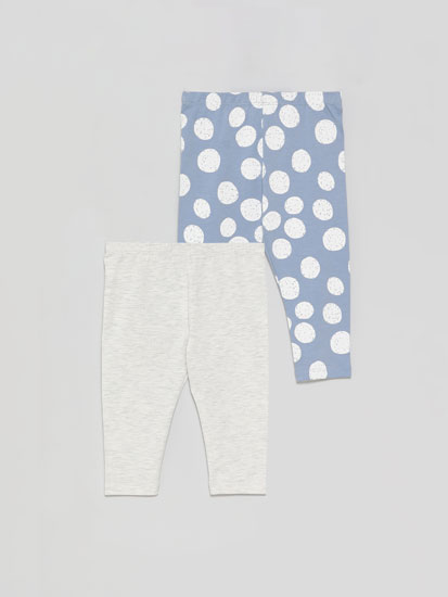 2-Pack of long basic plain and printed leggings