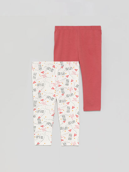 Pack de 2 leggings largos básicos liso y estampado