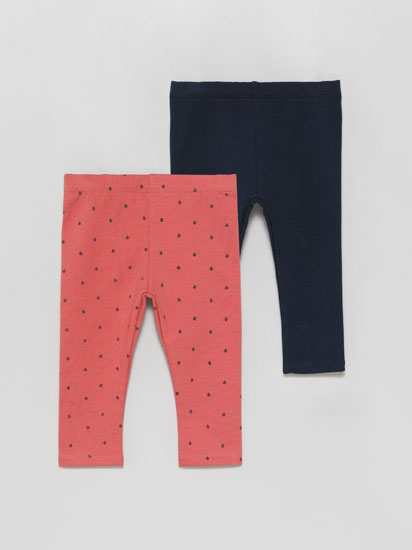 Pack of 2 pairs of long plush leggings with warm lining