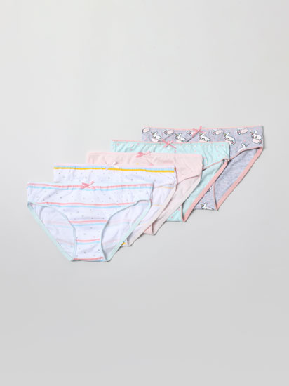 Pack of 5 pairs of classic briefs with a unicorn print