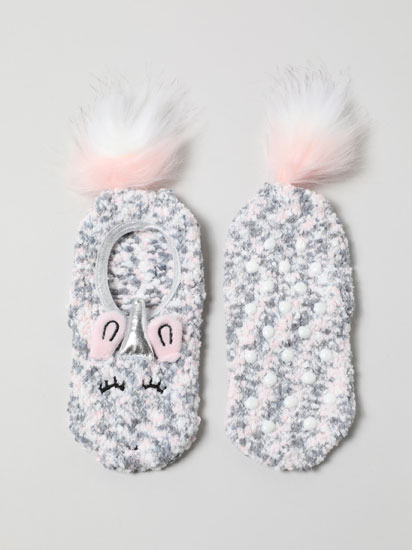 Pair of non-slip socks with pompoms