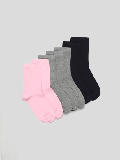 Pack of 7 pairs of basic coloured long socks