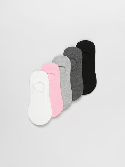 Pack of 5 pairs of basic coloured no-show socks