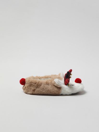 Faux fur Christmas reindeer slippers