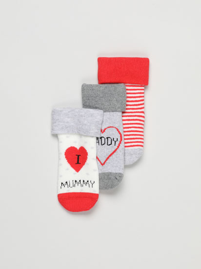 3-Pack of long turn-up socks