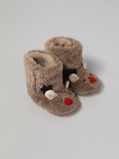 FAUX FUR REINDEER SLIPPER BOOTS