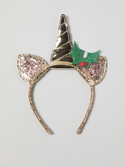 Headband with unicorn and mistletoe