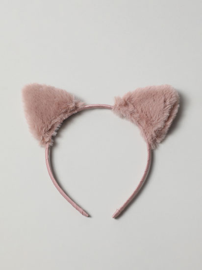 Faux fur headband with ears