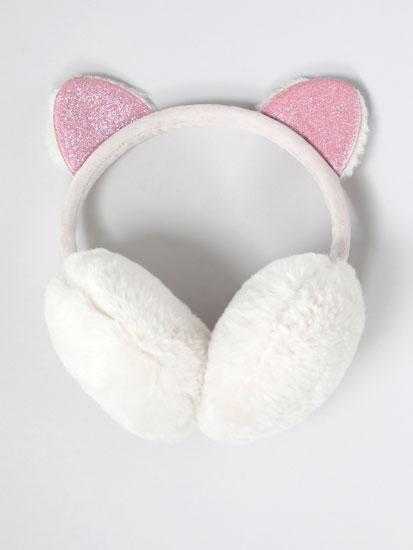 Faux fur earmuffs with shiny detail