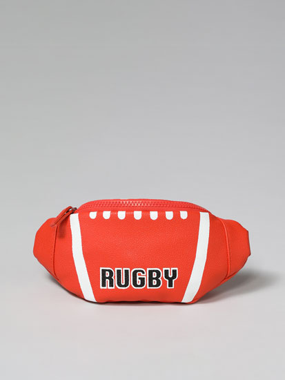 RUGBY-BALL-SHAPED BELT BAG