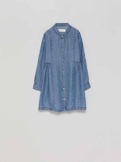 Denim dress with shirt collar