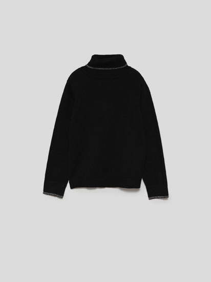 Roll neck sweater with metallic detail
