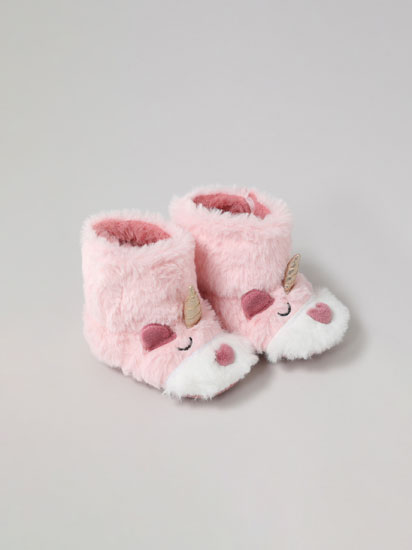 FAUX FUR UNICORN SLIPPER BOOTS