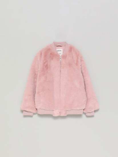 Faux fur bomber jacket
