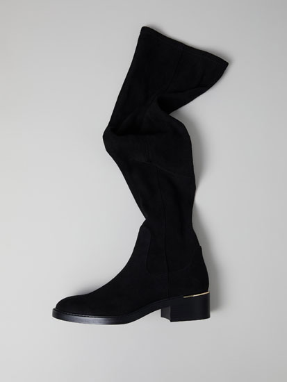 Knee-high elastic boots