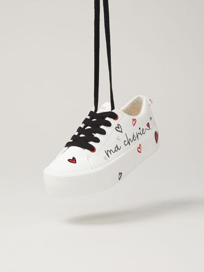 Printed 'Ma chérie' sneakers