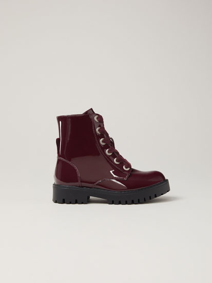 Faux-patent-finish boots