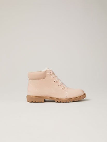 Faux-patent-finish mountain boots