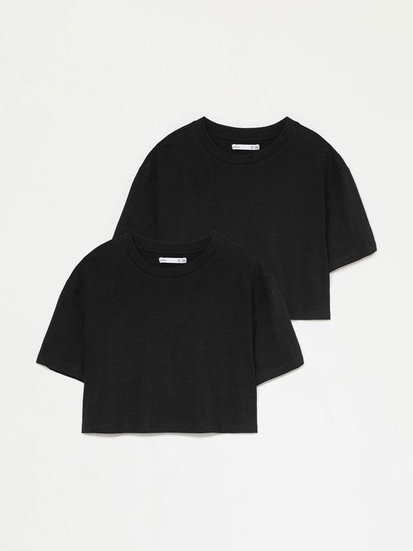 Pack de 2 camisetas básicas crop